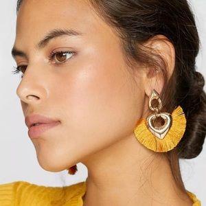 Cha Cha Yellow Fringe Boho Drop Earrings